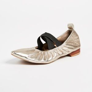 Free People Solitaire Gold Ballet Flats NWOB Size6